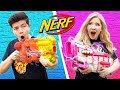 NERF GUN CHALLENGE Boy Vs Girl Learn How To Make Custom NERF Guns DIY Battle