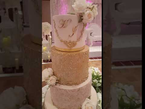 Gold and blush sequin wedding cake.