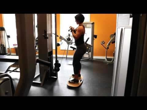 Standing Biceps Cable Curl On A Balance Board