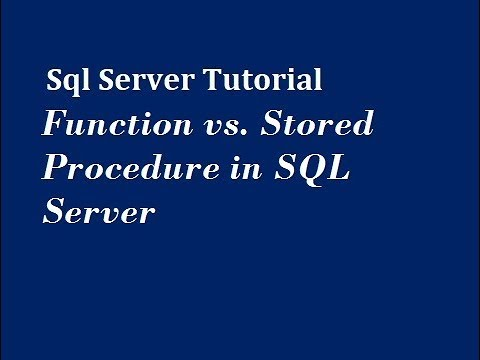 Function vs. Stored Procedure in SQL Server