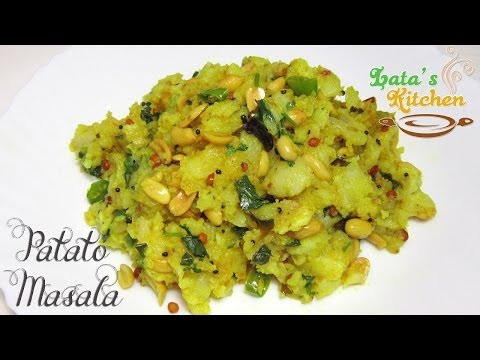 Potato Masala for Dosa Recipe - South Indian Vegetarian Recipe Video in Hindi - Lata's Kitchen