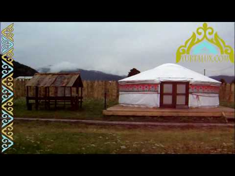 Camping Mongolian yurts in the Altai Mountains