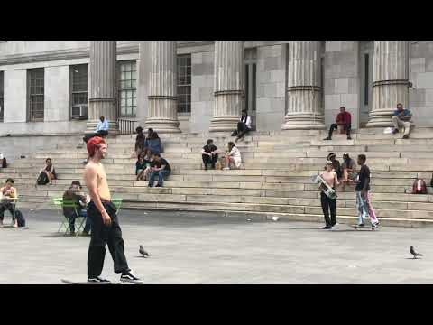 skateboards in action, Downtown Brooklyn, New York (5-4-18)