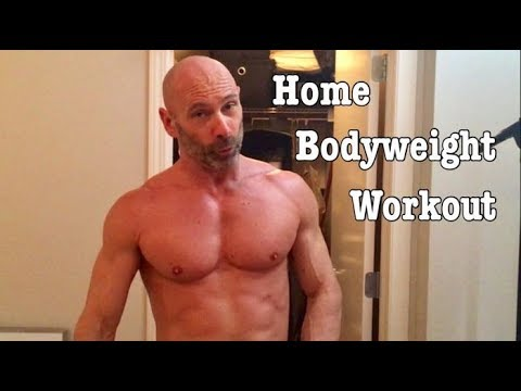 Home Bodyweight workout. Full body, single leg box jump, hamstrings planche push ups front lever