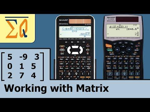 Sharp EL-W516 EL-W506X EL-W516XBSL Matrix  determinant, matrix inverse etc
