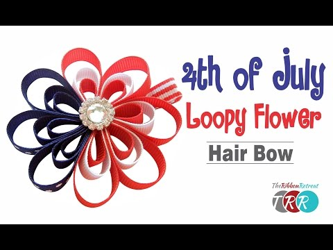 How to Make a 4th of July Loopy Flower Hair Bow - TheRibbonRetreat.com