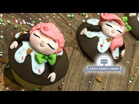Christmas pudding girl cupcakes
