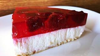 ალუბლის ჩიზქეიქი - ცხობის გარეშე \ Cherry Cheesecake -no baking | EasyCooking