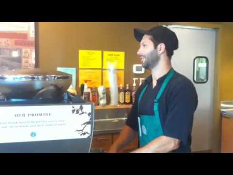 Jakub working hard at Starbucks!