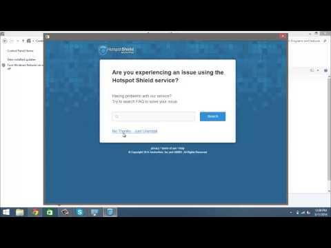 Windows 8.1- Uninstall Hotspot Shield