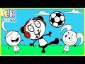 COMBO PANDA Teaches Emma Kate Soccer Funny Cute Animation For Kids