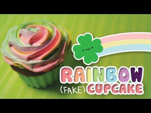 ♧ Rainbow (Fake) Cupcake - Happy St. Paddy's Day! ♧