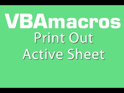 Print Out Active Sheet - VBA Macros - Tutorial - MS Excel 2007
