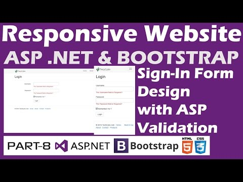 Responsive Website - ASP .NET & Bootstrap - Part 8 - Login Page Design with Validation Controls