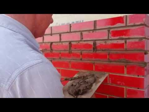 Deep tile brick joints filled with mortar