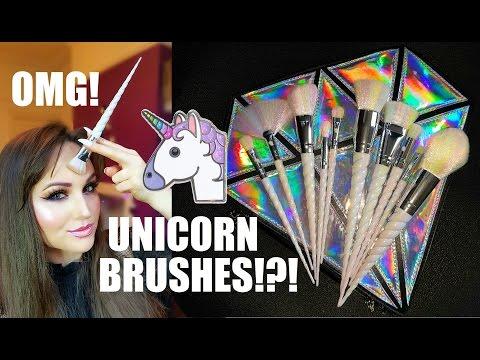 UNICORN MAKEUP BRUSHES! OMG! Review & Demo | Unicorn Lashes UK