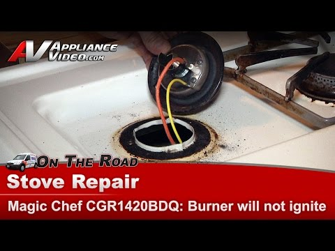 Burner not igniting - Repair and diagnostic on Magic Chef & Whirlpool CGR1420BDQ_DR