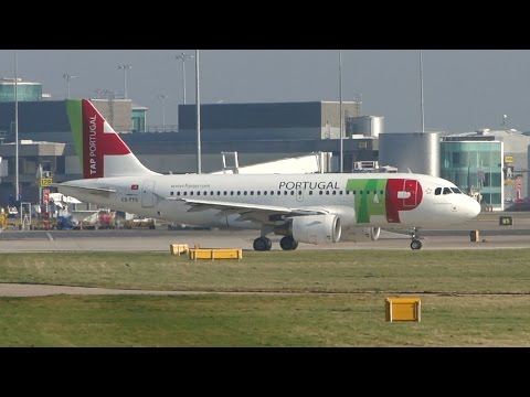 TAP Portugal A319 take-off at Manchester