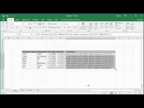 How to Concatenate a Date with Text in Excel 2016