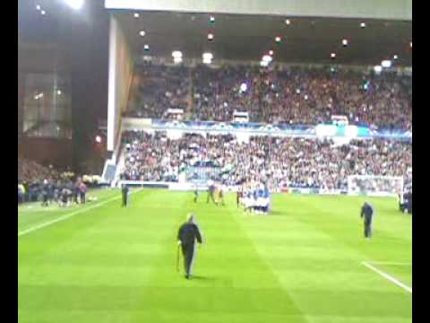 rangers v sevilla champions league music just before kick off 29th september 2009
