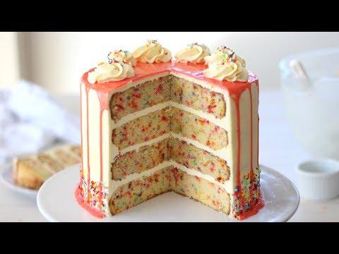 Funfetti Cake Recipe   Drip Cake Tutorial