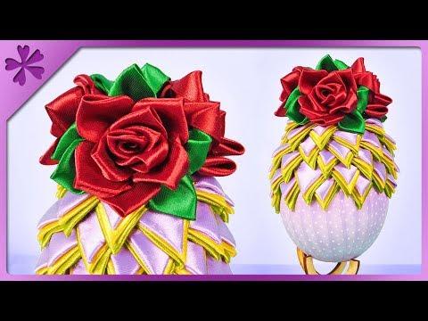 DIY How to make artichoke ribbon Easter egg and kanzashi roses (ENG Subtitles) - Speed up #459