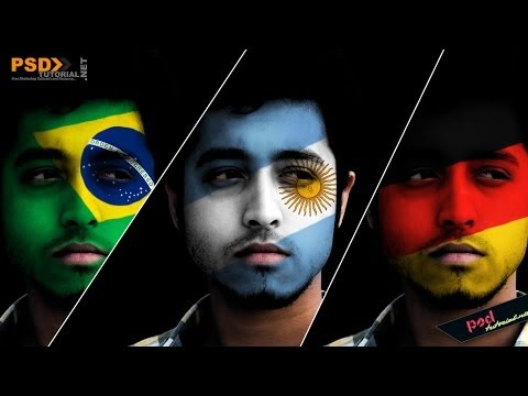 How to Paint National Flag onto a Face | Face Paint Photoshop Tutorial