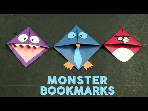 DIY Cool Monster Corner Bookmarks Making for Books - Kids Crafts