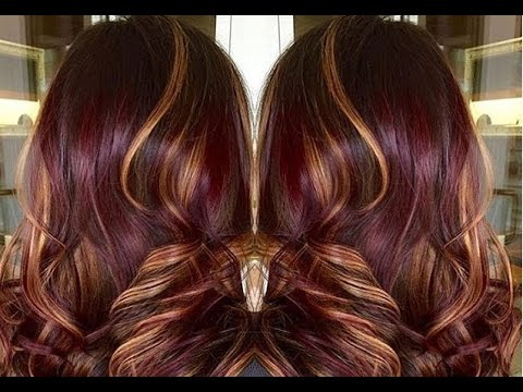 Purple Red Hair Color with Caramel Highlights