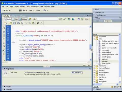 PHP Shopping cart using SESSION variables - part 5