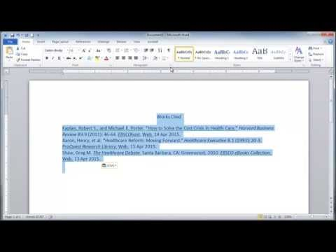 Format Works Cited & Annotated Bibliography in MS Word
