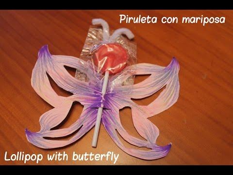 Piruleta con mariposa - Lollipop with butterfly - Ahorradoras.com