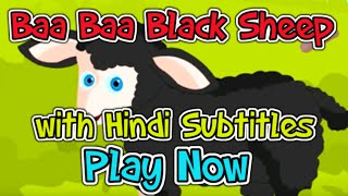 Baa, Baa, Black sheep with Hindi Subtitles - Nursery Rhymes