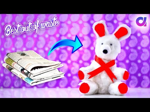 how to make teddy bear from news paper | newspaper craft | Best out of waste | Artkala 287