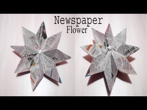 DIY Paper Flower without glue | newspaper craft