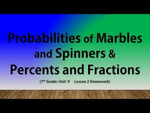 Probabilities of Marbles and Spinners &  Percents and Fractions (7th Grade Lesson 2 Homework)