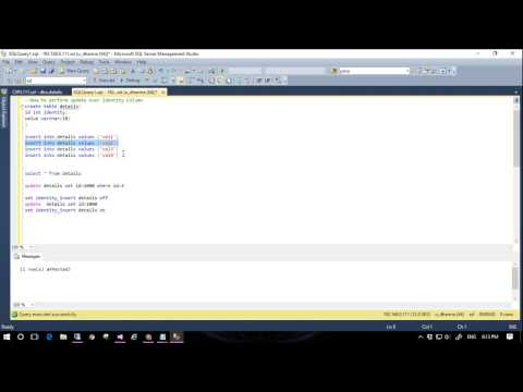 How to use direct update query over Identity column in SQL server