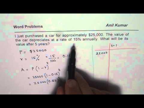 Depreciation of Car Word Problem Solution