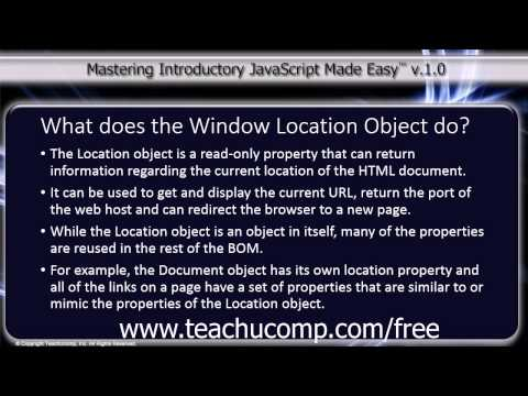 JavaScript Training Tutorial What Does the Window Location Object Do?