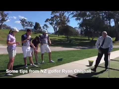 New Zealand High Commissioner to Australia Chris Seed wacking golf balls at Federal