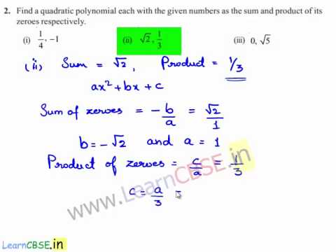 Precalculus | Find quadratic polynomial given sum and product of Zeroes