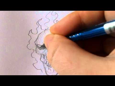 How To Draw A Ghost Rider Skull