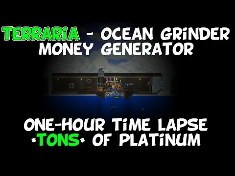Terraria 1.3 - Ocean Grinder 1-Hour Time Lapse Video - Tons of Platinum!
