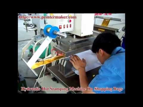 Hydraulic Hot Stamping Machine On Shopping Bags