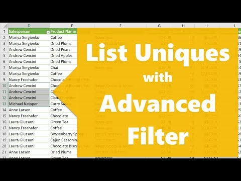 How to List Unique Values with Advanced Filter in Excel