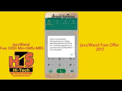 Jazz/Warid Free 3000 Min + SMS + MBS ||Jazz/Warid Free Offer || 2017