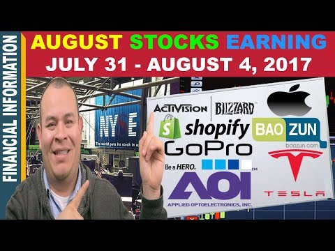 August Stocks Earnings📊| Apple Tesla Shopify Baozun GoPro Activision AAOI OLED |July31- August 4 📆
