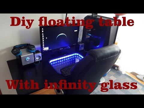 DIY Floating Desk with infinity glass