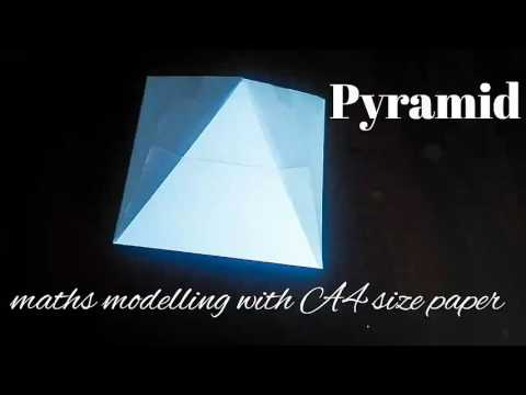 square pyramid | maths model 3d shapes using A4 paper