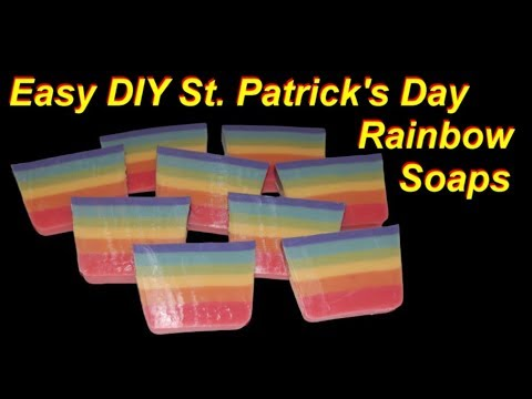 Easy DIY Rainbow Soap For St. Patrick's Day (Melt and pour)